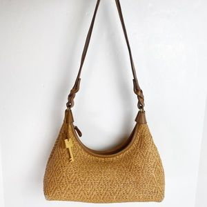 Fossil Woven Straw Zip Top Purse Shoulder Bag